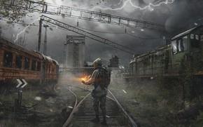 Обои дорога, поезд, депо, сталкер, фан арт, stalker 2, сталкер 2, Pavel bondarenko