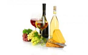 Картинка вино, бокал, бутылка, сыр, виноград