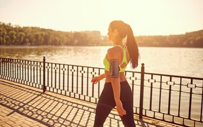 Картинка sunset, model, walk