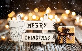 Картинка праздник, подарок, надпись, Рождество, декор