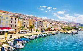 Картинка море, город, пристань, набережная, Хорватия, остров Паг, Паг