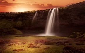 Картинка пейзаж, закат, природа, рендеринг, скалы, водопад, поток, Исландия, фотоарт
