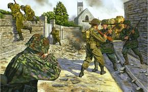 Картинка солдаты, танк, схватка, немцы, городской бой, британские пехотинцы