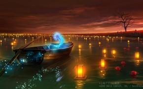 Картинка лодка, фонарики, душа, Touhou Project, ликорисы, Море Спокойствия, мистический огонь