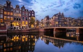 Картинка мост, отражение, здания, дома, Амстердам, канал, Нидерланды, Amsterdam, Netherlands, Singel Canal, Канал Сингел