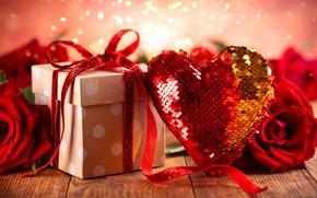 Картинка фон, подарок, романтика, розы, букет, red, сердечко, день святого валентина, roses, gift box