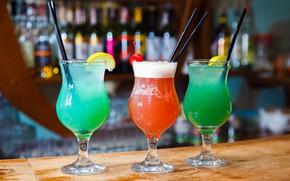 Картинка лимон, алкоголь, коктейли, трубочки