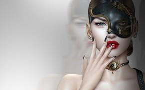 Обои девушка, лицо, маска, маникюр