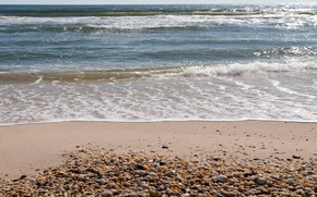 Картинка песок, море, волны, пляж, лето, берег, summer, beach, sea, blue, seascape, sand, wave