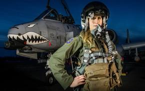 Картинка противотанковый, USAF, кабина, шлем, бородавочник, warthog, штурмовик, пилот, A-10 Thunderbolt II, Republic, ночь, nose art