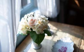 Картинка роза, букет, гортензия, тюль