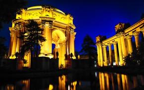 Картинка огни, парк, Сан-Франциско, США, беседка