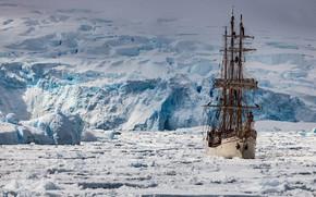 Картинка корабль, парусник, льды, Антарктика
