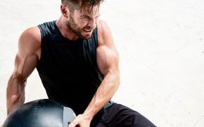 Картинка взгляд, актер, model, pose, атлет, Крис Хемсворт, Chris Hemsworth, бицепс, workout, fitness, abs, crossfit, training …