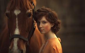 Картинка лошадь, девочка, веснушки, Анюта Онтикова