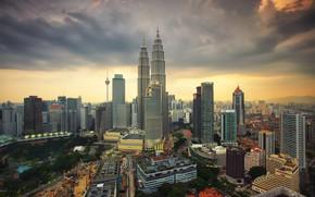 Картинка небо, пейзаж, город, рассвет, утро, Малайзия, Куала-Лумпур