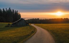 Картинка light, road, sunrise, bavaria