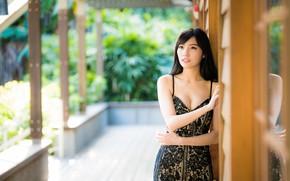 Картинка девушка, азиатка, боке, платьице