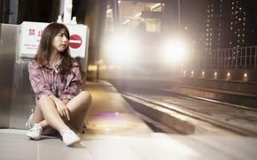 Картинка light, girl, woman, Train, asian, cute, Railroad