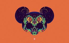 Картинка Минимализм, Фон, Арт, Skull, Mickey Mouse, Mickey, Characters, Mickey Mouse Skull, Jonatan Anjos, by Jonatan …