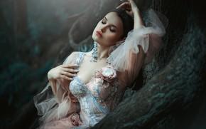Картинка девушка, поза, платье, брюнетка, Мария Здонова