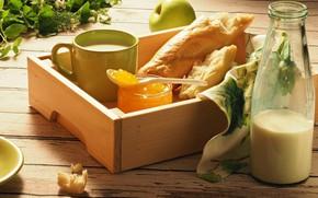 Картинка яблоки, бутылка, молоко, мед, липа