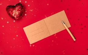 Картинка зима, праздник, красное, сердце, Рождество, ручка, Новый год, картон, звездочки, красный фон, поздравление, ёлочные игрушки, …