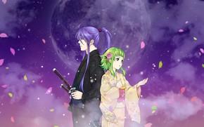 Картинка меч, двое, Vocaloid, Вокалоид