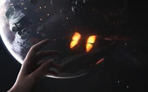 Картинка Бабочка, Скафандр, Планета, Космос, Рука, Кисть, Искры, Арт, Space, Art, Planet, Universe, Galaxy, Астероиды, Butterfly, ...