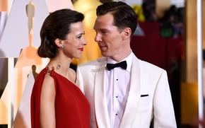 Картинка Бенедикт Камбербэтч, Benedict Cumberbatch, Оскар, супруги, Софи Хантер, церемония награждения