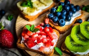 Картинка листья, ягоды, киви, клубника, хлеб, доска, фрукты, банан, мята, голубика, тосты