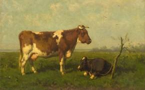 Картинка масло, холст, 1879, Jan Vrolijk, Корова с Теленком на Лугу