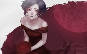 Картинка девушка, розы, букет