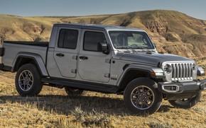 Картинка car, машина, горы, серая, сбоку, пикап, grey, Jeep, Jeep Gladiator Overland, Jeep Gladiator
