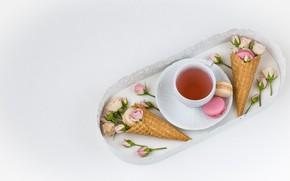 Картинка чай, печенье, поднос