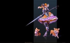 Картинка девушка, аниме, фэнтези, арт, собачка, Katya Cyan, De Corgi Knight