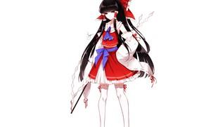Картинка брюнетка, девочка, банты, Touhou, Reimu Hakurei, Тохо, Тоухоу, Sheya