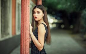Картинка взгляд, девушка, улица, брюнетка, боке, Черепко Павел