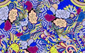 Картинка синий, желтый, фон, узор, вектор, текстура, texture, pattern, пейсли