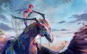 Картинка девушка, дракон, живопись