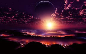 Картинка city, lights, space, sky, digital, landscape, sunset, clouds, stars, planet
