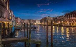 Картинка огни, дома, вечер, Италия, Венеция, канал