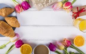 Картинка цветы, кофе, завтрак, сок, композиция, круассаны