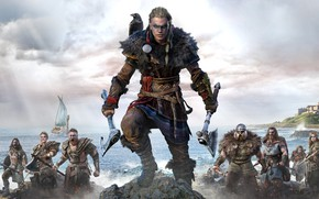 Картинка Воительница, Assassin's Creed, Драккар, Assassin's Creed Valhalla, Ворон Одина, Побрили
