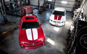 Картинка Muscle, Cars, Dodge Charger, Chevrolet Camaro, Tuning, Garage