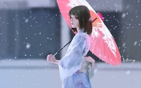 Картинка снег, стрижка, азиатка, юката, красный зонт, размытый фон, портрет девушки, под зонтом, by Bao Song …