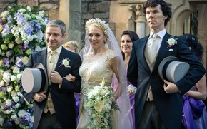 Картинка Шерлок Холмс, свадьба, Мартин Фриман, Бенедикт Камбербэтч, Sherlock, Sherlock BBC, Sherlock Holmes, жених и невеста, …