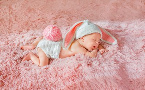 Картинка ребенок, сон, малыш, мех, зайчик, ушки, шапочка, младенец, хвостик, cap, child, baby, sleep, fur, ears, …