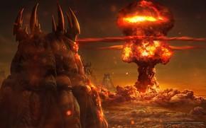 Картинка взрыв, огонь, starcraft, ядерный, зерги, стратегия, поражение, zergs, remastered