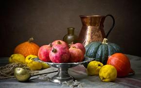 Картинка темный фон, еда, тыквы, посуда, фрукты, натюрморт, гранаты, композиция